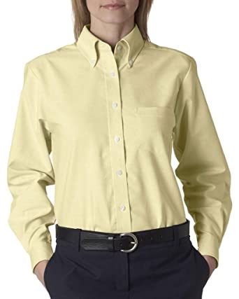 Ultraclub Ladies Classic Wrinkle-Free Long-Sleeve Oxford 8990 -Butter XS