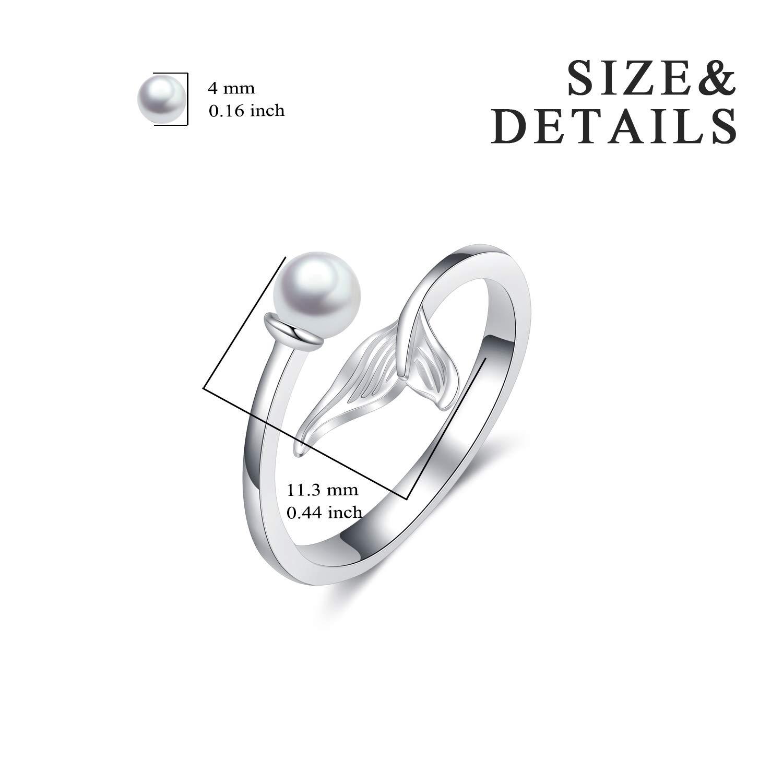 Mermaid Rings Sterling Silver Adjustable White Seashell Finger Rings for Women Teens Girls POPLYKE PYJ0101