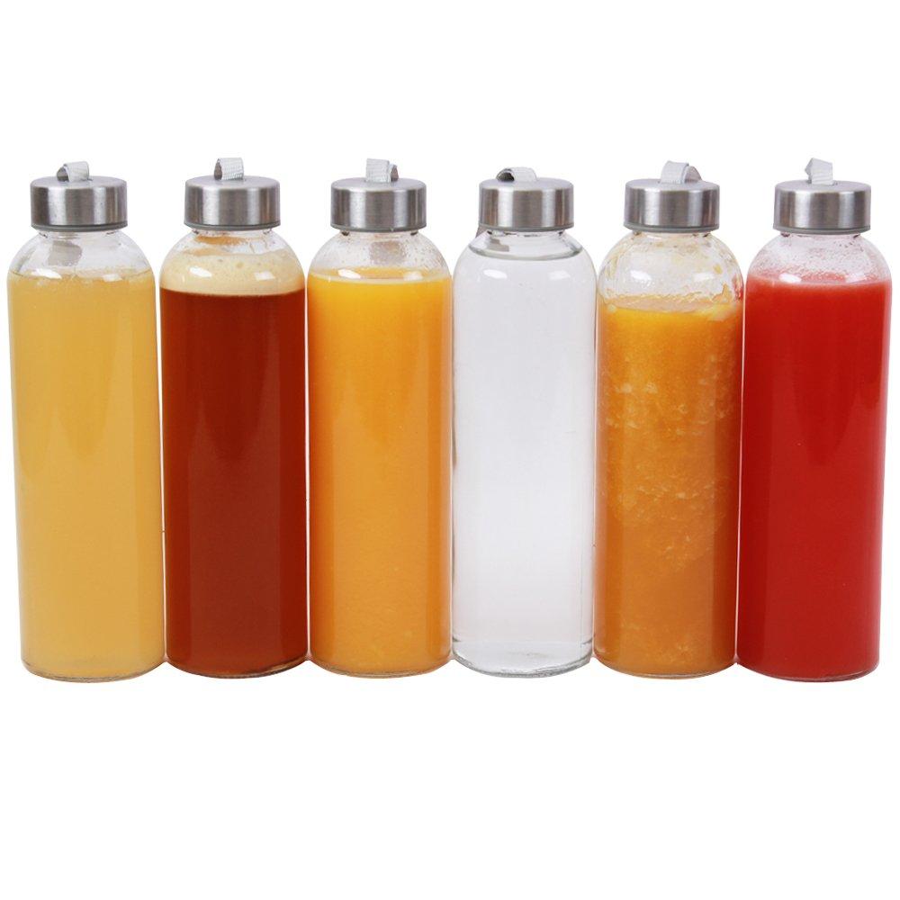 18-oz Glass Water Bottle,Set of 6 ZHENXI