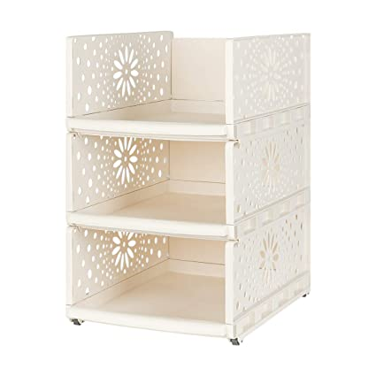 Wardrobe Storage Organiser Box Plastic Stackable Detachable Shelves Closet For Bedroom Beige Small Co Uk Kitchen