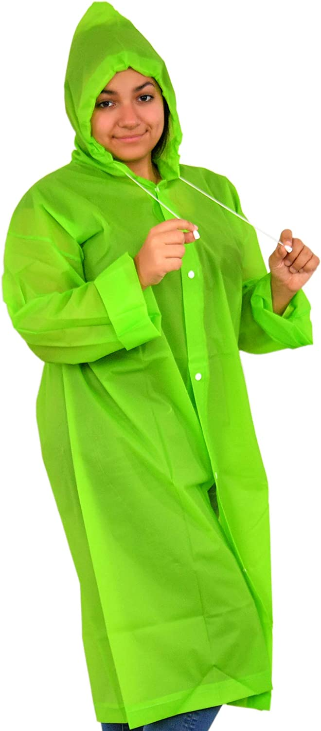"""Home-X Adult Portable Raincoat Rain Poncho with Drawstring Hood and Sleeves, Weatherproof Raincoat, Unisex Poncho, Light Weight, Easy to Carry-Green-7.25"""" L"""