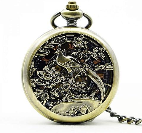 XDKHG Reloj de Bolsillo Peonía Floral Fenghuang Flor Danza ...
