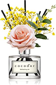 Cocod'or Rose Flower Reed Diffuser, Refreshing Air Reed Diffuser, Reed Diffuser Set, Oil Diffuser & Reed Diffuser Sticks, Home Decor & Office Decor, Fragrance and Gifts, 6.7oz