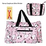 DIYJewelryDepot TM Lightweight Foldable Duffle Bag for Gym or Travel, Luggage Carry On (Snoopy Pink)
