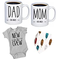 """Pregnancy Gift Est 2022 - New Mommy and Daddy Est 2022 11 oz Mug Heart Set with """"New To The Crew"""" Romper (0-3 Months…"""