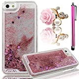 Vandot Sparkly Liquid Stars Bling Sand Glitter Quicksand Flowing Water Moving Flows Dynamic Drift Transparent Plastic Hard Cover Case for iPhone 6S 6 4.7 Inch - Pink + Bling Rose Anti Dust Plug