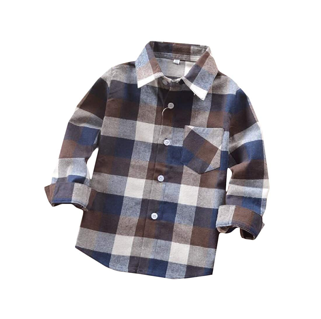 Joe Wenko Boys Casual Button-Down Top Long-Sleeve Plaid Shirts