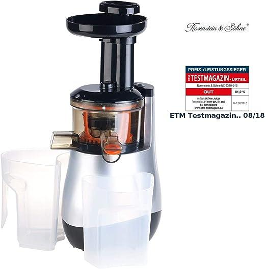 Rosenstein & Söhne Entsafter: Elektrischer Slow Juicer, 60 UmdrehungenMin, leiser Motor, 150 Watt (Saftmaschine)