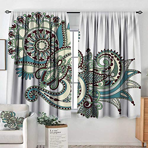 "Mozenou Henna Room Darkening Curtains Hand Drawn Traditional Flower Arrangement Ornate Design Vibrant Colors Decorative Curtains for Living Room 63"" W x 72"" L Dark Brown Blue Green"
