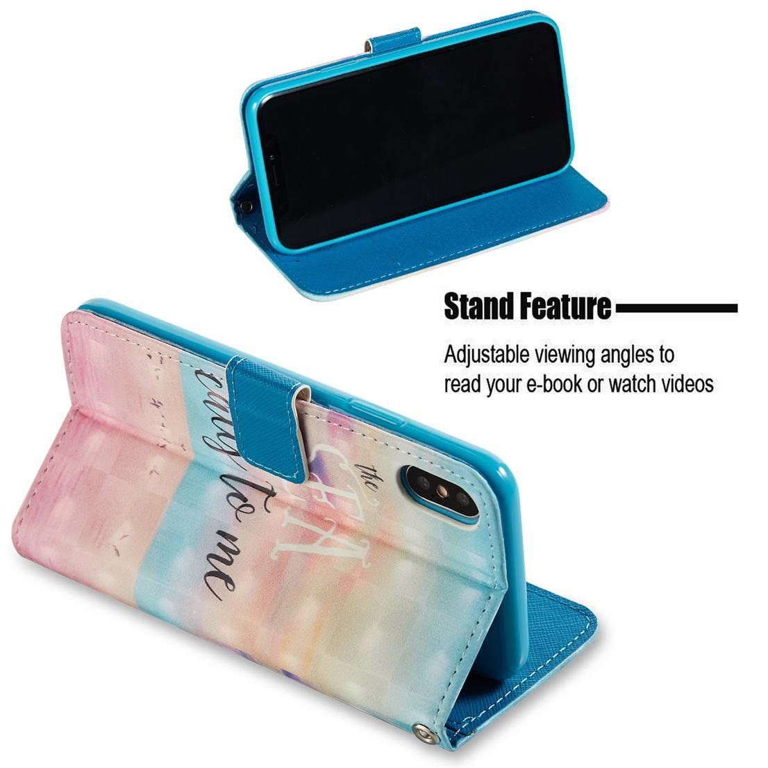 Amazon.com : iPhone X Case, Pu Leather Wallet Cover Flip Kickstand Carrying Case with Wrist Strap Full Protective Case Xmas Birthday Gift Compatible Apple ...