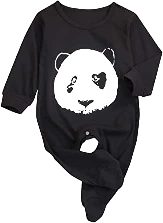YOUNGER TREE Newborn Baby Clothes Black Long Sleeve Bear Romper Jumpsuit Outfit PJS for Kids Funny Onesie Matching Outfits