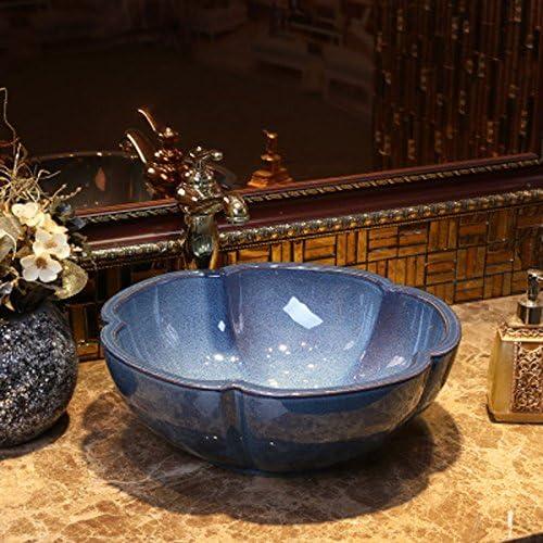 レトロなアートステージ盆地セラミック洗面台シンプルなアンティーク盆地ステージ洗面(40x15cm) P3/17 (Color : Blue)