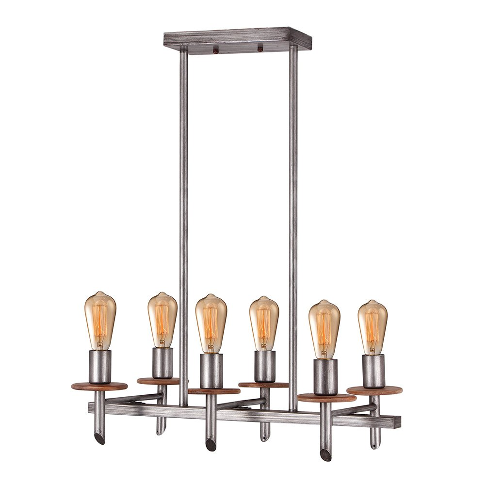 Eumyviv C0021 6-Lights Double Rows Metal Wood Chandelier Retro Rustic Industrial Pendant Light Edison Vintage Decorative Hanging Light Fixture Ceiling Light Luminaire