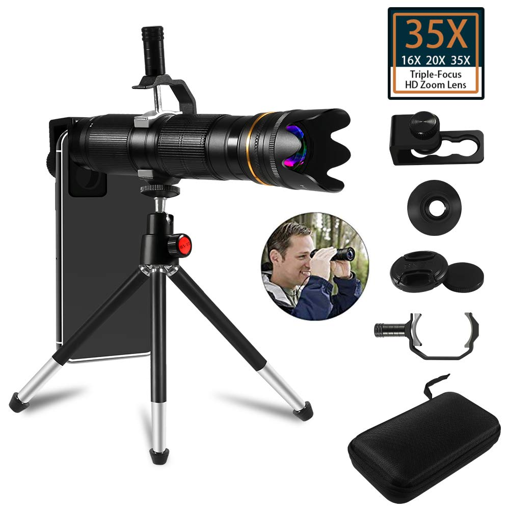 35X Cell Phone Camera Lens, 16X to 35X Adjustable Dual Focus Telephoto Zoom Lens HD 4K with Detachable Clamps Strong Tripod for iPhone XR,XS MAX,XS,X,8,7,6,6s Plus Smartphone by AiTrip