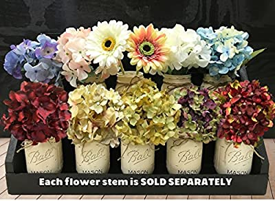 HYDRANGEA or GERBERA DAISY FLOWER to accessorize with our Handmade Mason Canning Pint Ball JARS in a Distressed Wood DRAWER *Make a beautiful CENTERPIECE with Silk Flower Stems