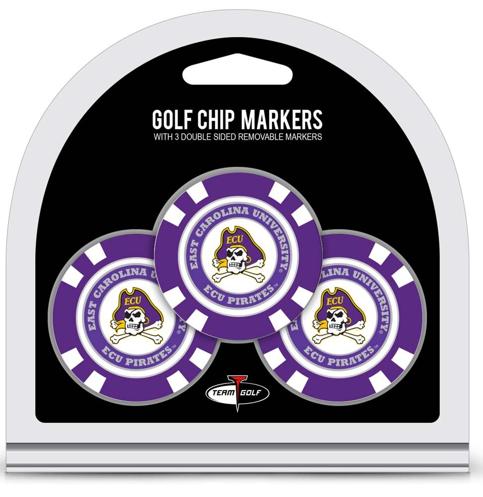 Team Golf NCAA East Carolina Pirates Golf Chip Ball Markers (3 Count), Poker Chip Size with Pop Out Smaller Double-Sided Enamel Markers by Team Golf