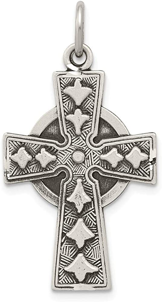 925 Sterling Silver Antiqued Cross Shaped Pendant