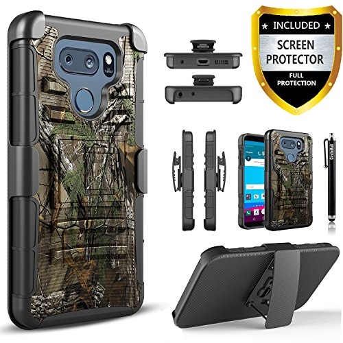 LG V30 Case, LG V35 ThinQ Case, with [Premium Screen Protector], Circlemalls Heavy Duty Drop Protection Belt Clip Phone Cover with Built-in Kickstand and Stylus Compatible V30/V35 ThinQ/V30 Plus-Camo