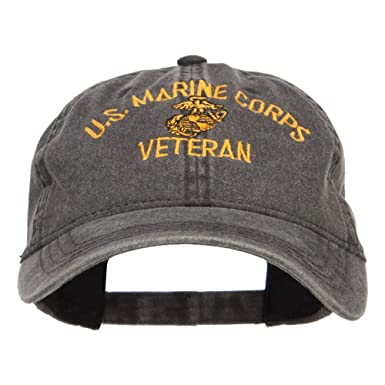 E4hats US Marine Corps Veteran Military Embroidered Washed Cap