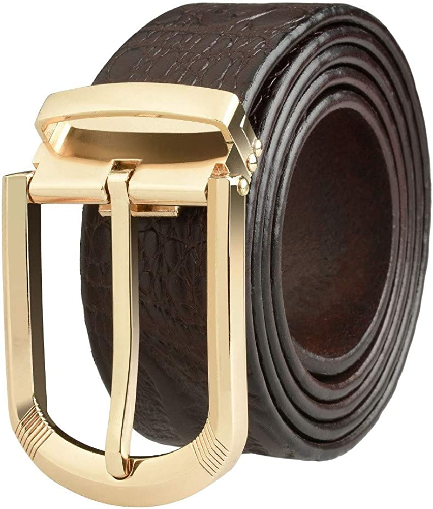 With an Elegant Gift Box Martino Classic Designer Belt Wild Leather Belts for Men Brown Genuine Leather Belt