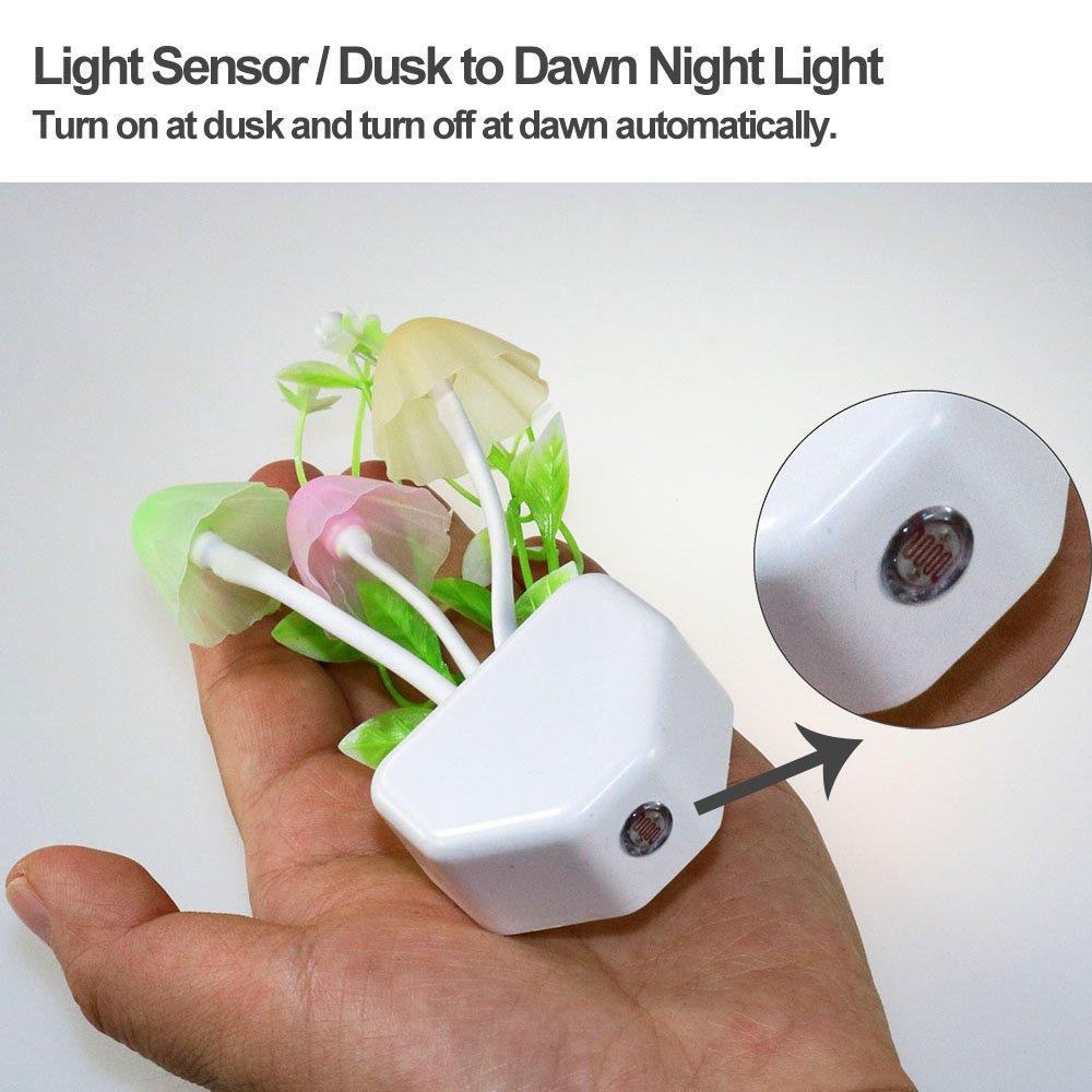 2 Pack Led Night Light w//Dusk to Dawn Sensor,AUSAYE 0.6W Plug-in Night Light Lamp Night Lights for Kids Adults Mushroom Night Light Wall Lamps NightLight