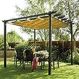 Bosmere PERLAT Rowlinson Latina Free-Standing Aluminum Sun Canopy with Retractable Fabric, Gunmetal Grey