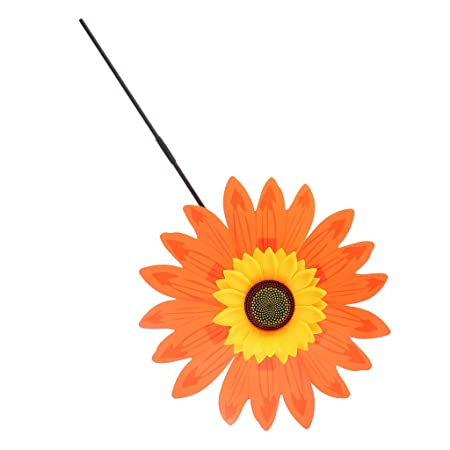 Albio Beautiful 36cm DIY Sunflower Windmill Wind Rotator Kid Outdoor Playground Toy Nursery Venue Decor Kits Orange