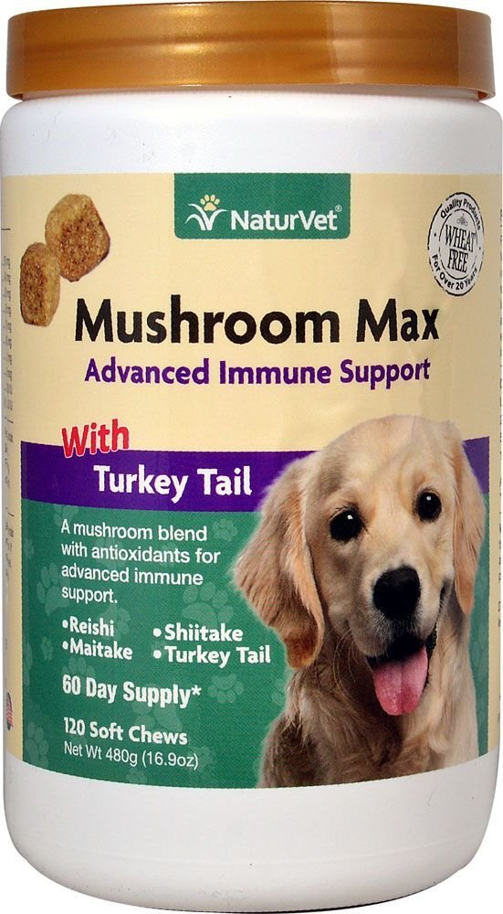 NaturVet Mushroom Max Advanced Immune Support with Turkey Tail 120 ct for Dogs 797801037303