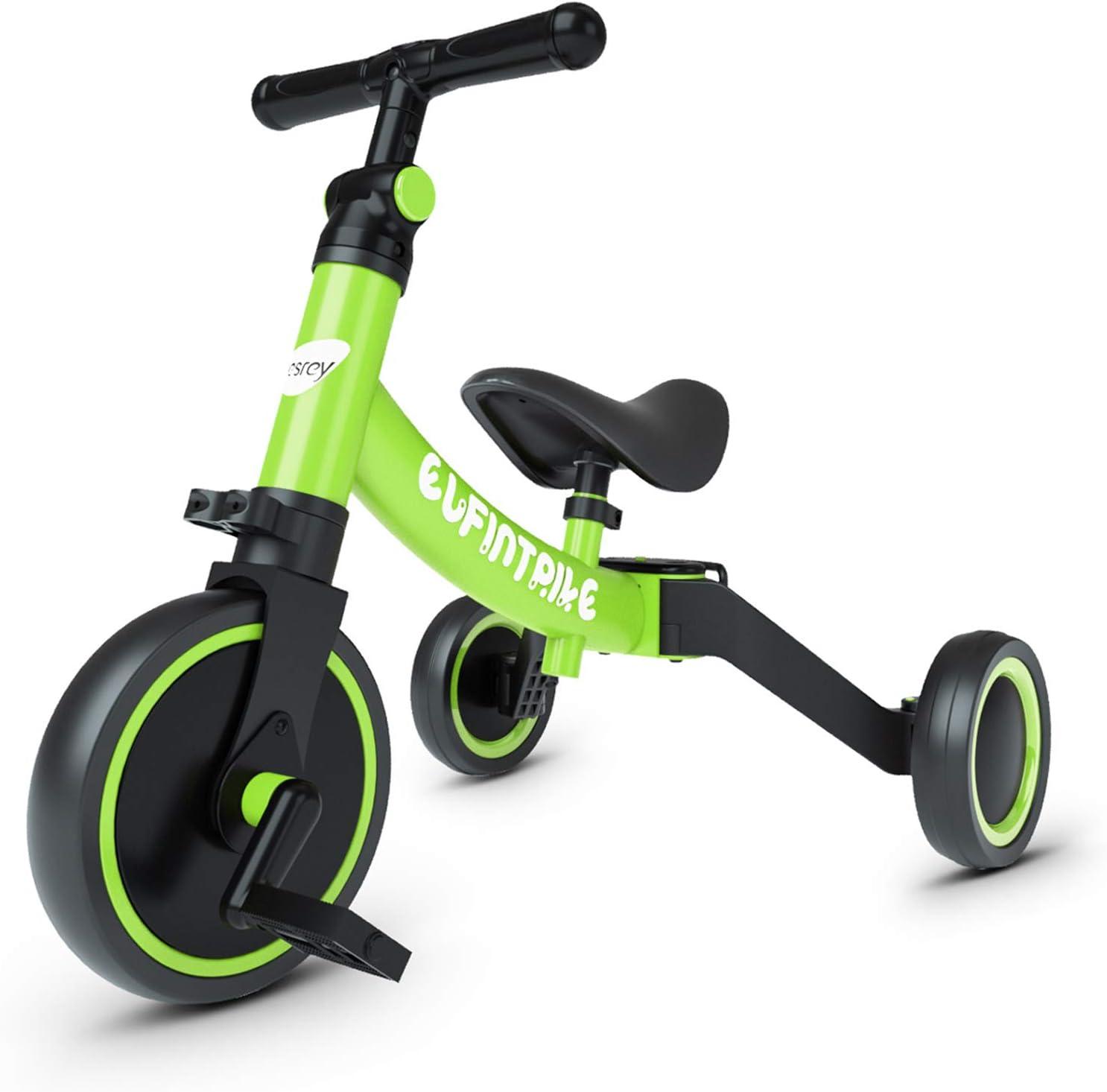 besrey Triciclos para Niños, 5 en 1 Un Bici polivalente, Triciclo & Bicicleta & Carro de Equilibrio & Caminante, 2.8kg Ligero y portátil, Adecuado para niños de 1.5-4 años Verde