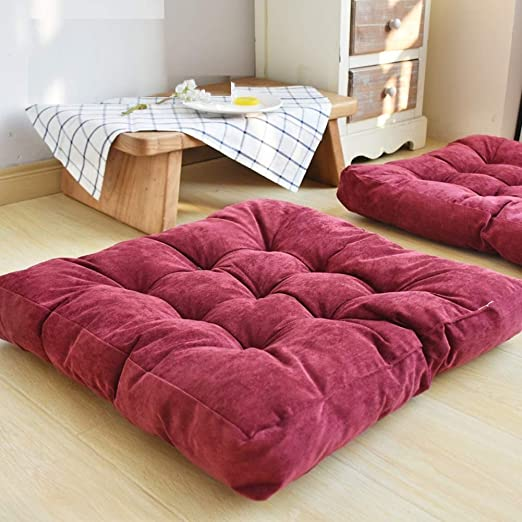 HIGOGOGO Solid Square Seat Cushion, Tufted Thicken Pillow Seat Soft Corduroy Chair Pad Tatami Floor Cushion for Yoga Meditation Living Room Balcony ...