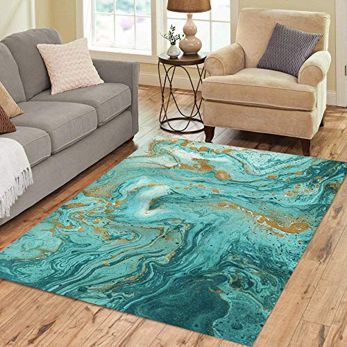 Pinbeam Area Rug Beautiful Abstract Golden and Turquoise Mixed Paints Marble Home Decor Floor Rug 5' x 7' Carpet (Turquoise And Green Rug)