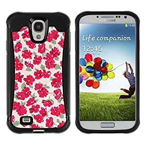 Suave TPU Caso Carcasa de Caucho Funda para Samsung Galaxy S4 I9500 / Flowers Wallpaper Vintage Pink / STRONG