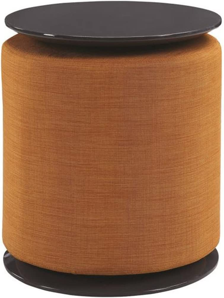 Coaster Home Furnishings Accent Table with Ottoman in High Gloss Grey with Orange Upholstery