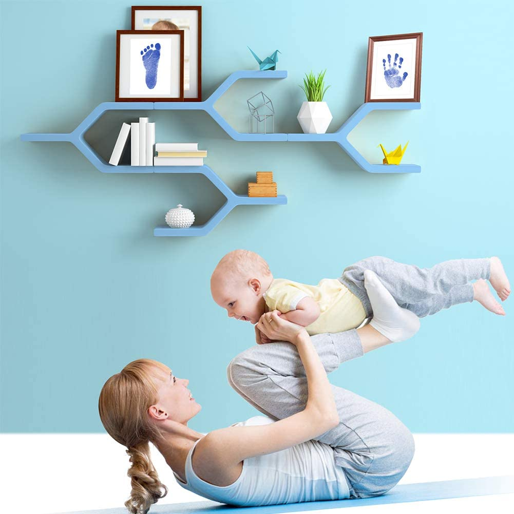 PChero Clean-Touch Almohadillas de Tinta para Huellas de Manos y Huellas para Beb/és Negro + Azul, A Kits de Tinta para Impresi/ón de Patas para Regalo de Baby Shower de 0-6 Meses