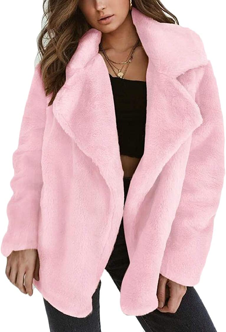 XQS Women Lapel Cozy Faux Fur Coat Warm Winter Overcoat Outercoat