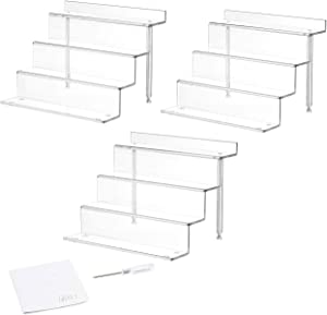 NIUBEE 3 Pack Acrylic Riser Display Shelf for Amiibo Funko POP Figures, Cupcakes Stand for Table, Cabinet, Countertops - 4-Tier, Clear