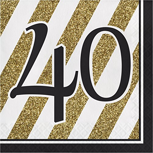 Black and Gold 40th Birthday Napkins, 48 -