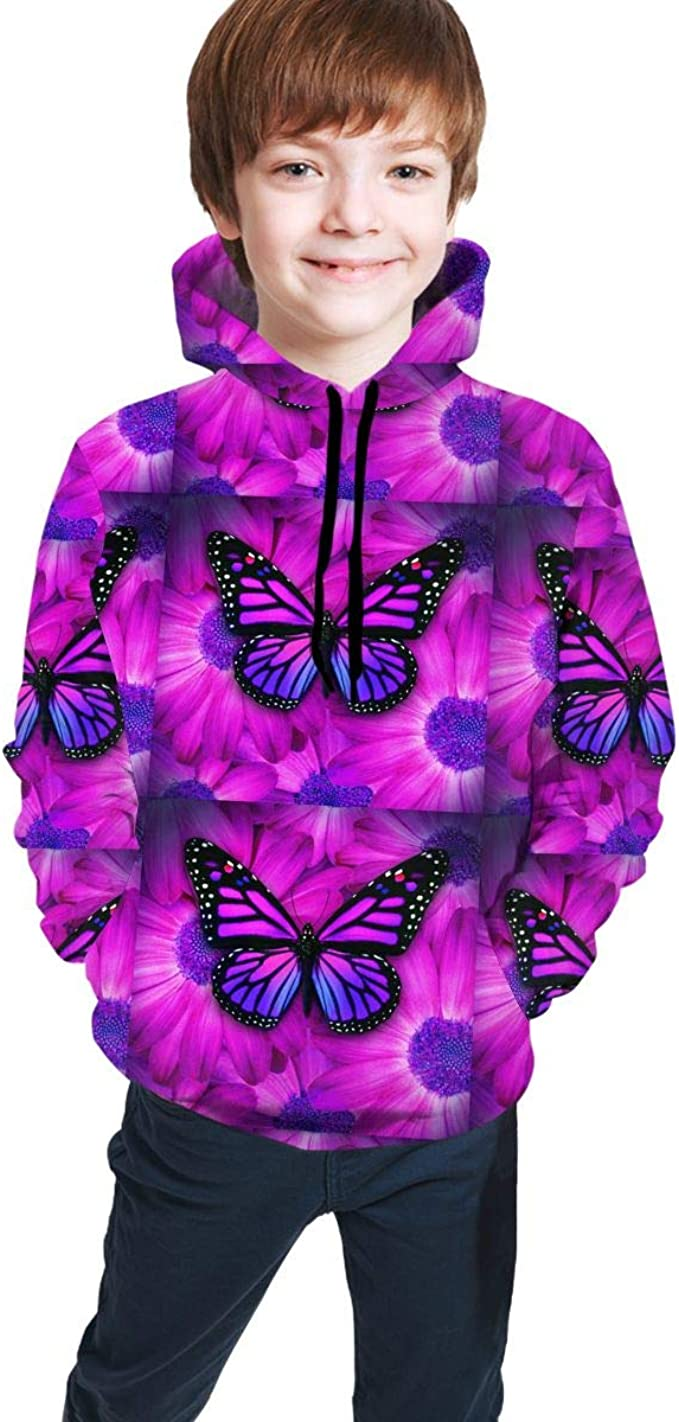 Fashion Women//Men/'s Purple Butterflies 3D Print Hoodies Sweatshirt Pullover