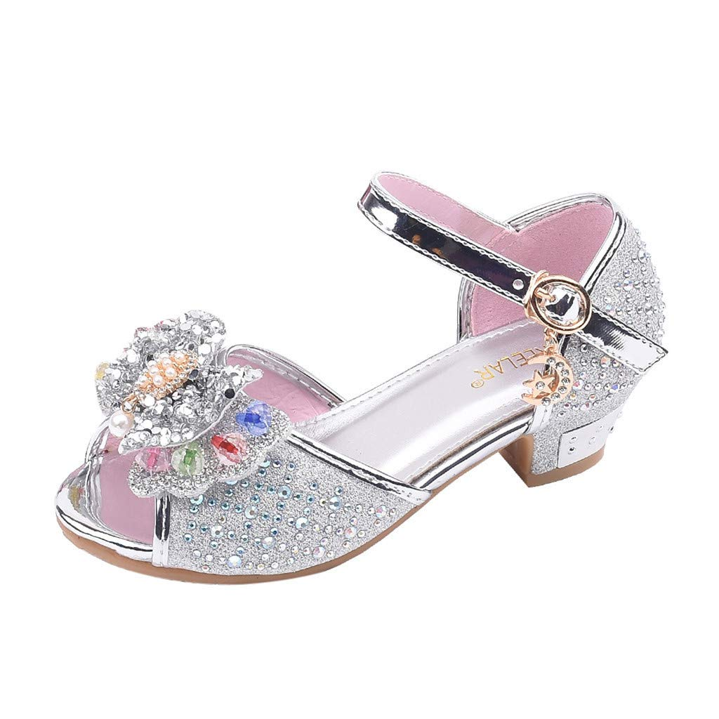 ❤️ Mealeaf ❤️ Toddler Kids Girls Pearl Butterfly-Knot Crystal Single Princess Shoes Sandals(Silver,28)