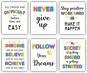 """Colorful Motivational Words Art Print,Never Give Up Inspirational Quote Wall Painting Picture, Set Of 6 (8""""X10"""",Unframed) Positive Phrases Wall Art For Classroom,Home Decor"""