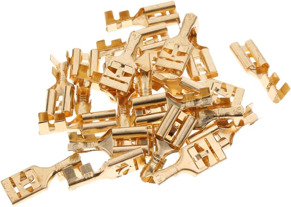 H HILABEE 25 Pieces Brass Crimp Terminal Cable Locking Female Spade Connector 9.5mm