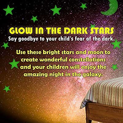 Ultra Glow in The Dark Stars Luminous Premium Quality Different Sizes Fluorescent Stars with Bonus Large Moon 201 Pcs Stickers Ceiling Decor Perfect Gift for Kids Bedroom Birthday Party: Arts, Crafts & Sewing