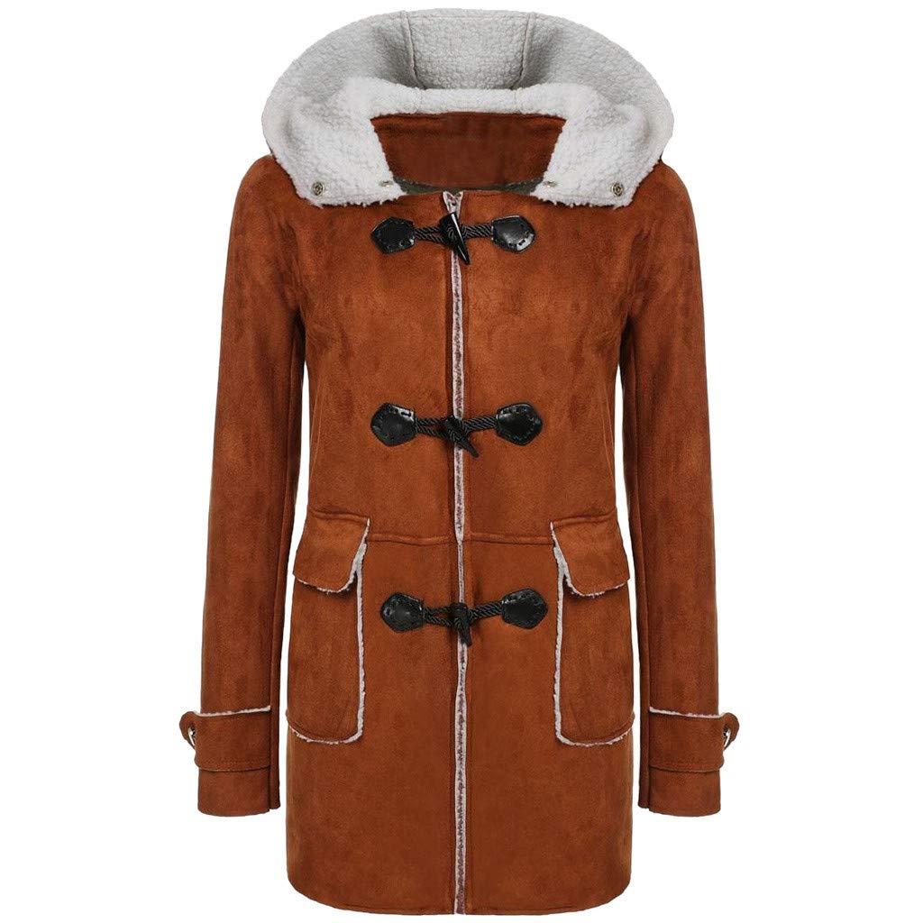 Dainzuy Women's Winter Thick Outerwear Fleece Lined Horn Leather Buckle Hooded Parka Coat Outwear Jacket Overcoat Khaki by Dainzuy Womens Outerwear