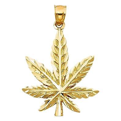 Amazon 14k yellow gold marijuana leaf pendant jewelry 14k yellow gold marijuana leaf pendant aloadofball Image collections