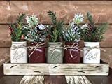 HOLIDAY Centerpiece Mason JARS in Wood Antique White or Red Tray with 5 Ball Pint Jar -Kitchen Table -Christmas Decor -Distressed Rustic -Florals (OPTIONAL) - Pine Berries Green Evergreens Flowers