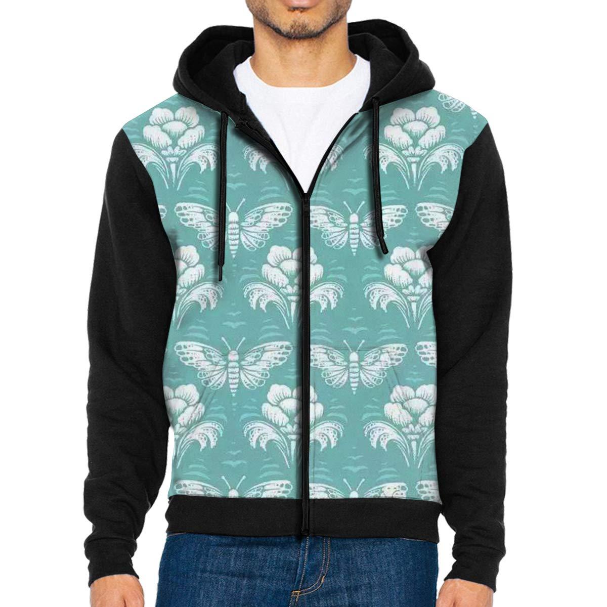 HEHE TAN Mens Pullover Hood Butterflies Flowers Zip Hoodies Hooded Fashion Jackets Coats