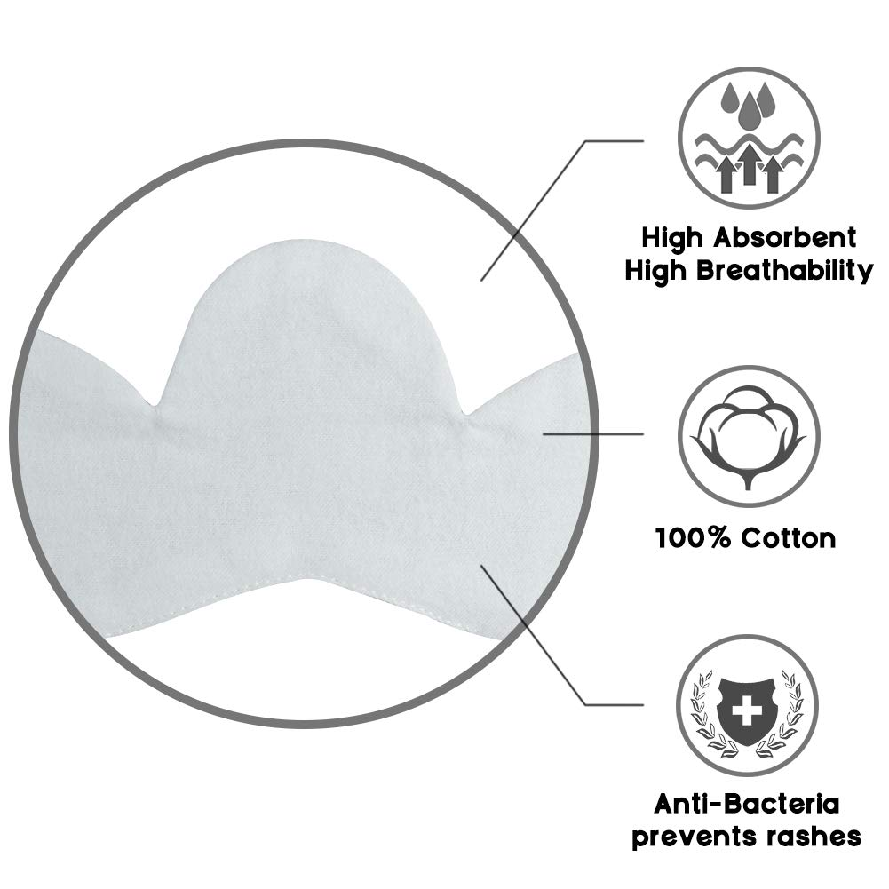 KimYoung Bra Liners for Sweat Rash Stop Boob Sweat Rash Under Breast Cotton Sweat Liner Breast Sweat Pads
