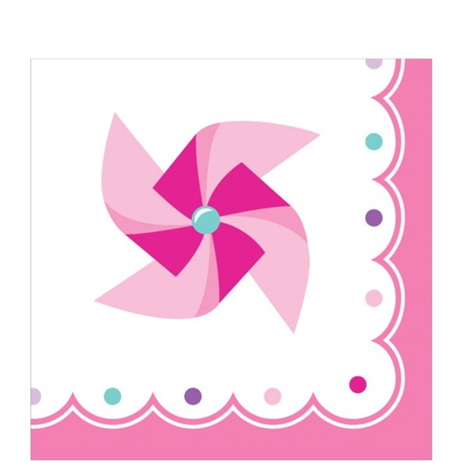 Club Pack of 192ピンクanホワイトTurning One Girl Birthday Beverage Napkins 5
