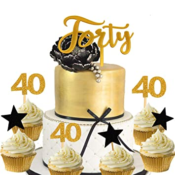 21 PCS JeVenis 40th Birthday Cake Topper Hello 40 Wedding Anniversary Party