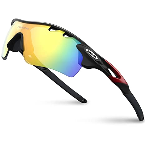 RIVBOS 801 Polarized Sports Sunglasses Sun Glasses with 5 Interchangeable  Lenses for Men Women Baseball Cycling 71339741aab4
